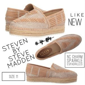 Steve Madden Silver and Natural Espadrilles Sz 11